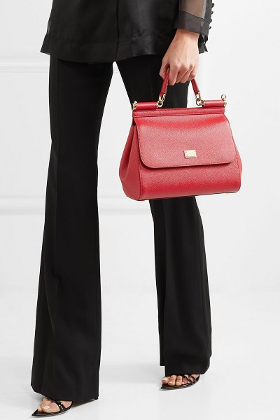 Dolce   Gabbana sicily medium textured-leather tote in red - This  structured  Sicily 95a536134144d