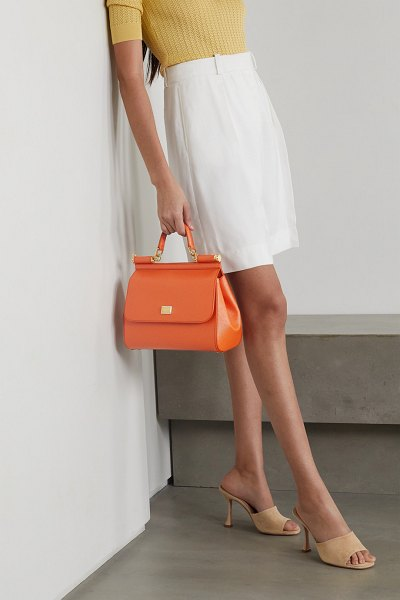 Dolce & Gabbana sicily small textured-leather tote in orange