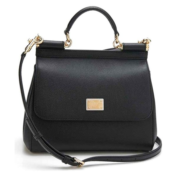 Dolce & Gabbana small sicily leather satchel in nero