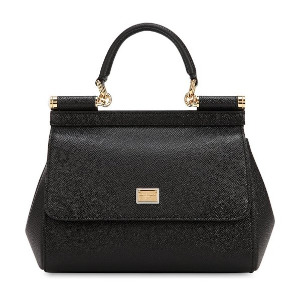 Dolce   Gabbana Small sicily dauphine leather bag in black - Height  16cm  Width  b21ad1e0c0