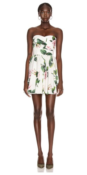 Dolce & Gabbana strapless floral mini dress in rose