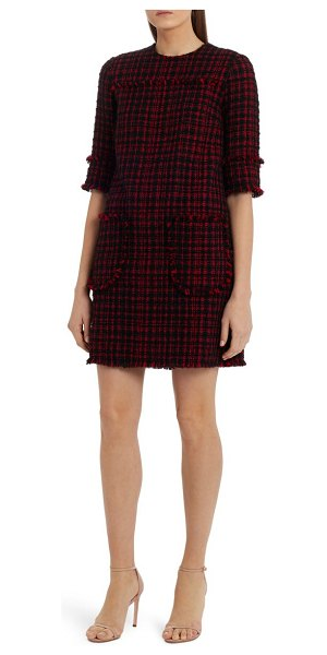 Dolce & Gabbana tweed a-line shift dress in black red