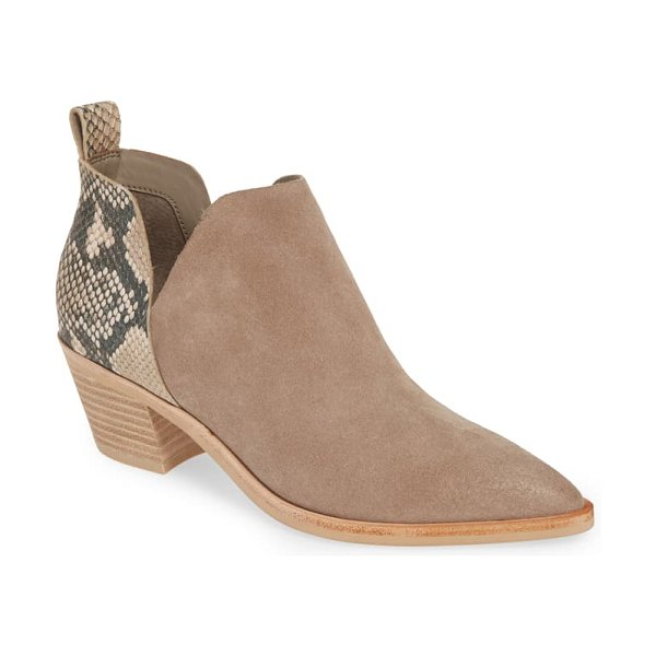 Dolce Vita sonni pointy toe bootie in taupe suede