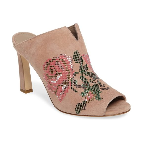 DONALD PLINER elora embellished open-toe mule - Oversized roses bloom in a mosaic of tiny studs across the...