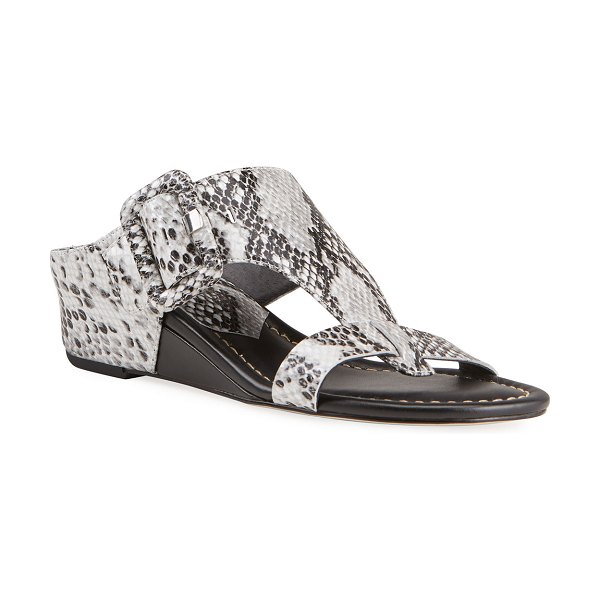 Donald J Pliner Ofelia Pearlized Python-Print Buckle Wedge Thong Sandals in white