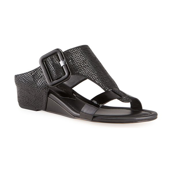 Donald J Pliner Ofelia Pebbled Buckle Wedge Thong Sandals in black