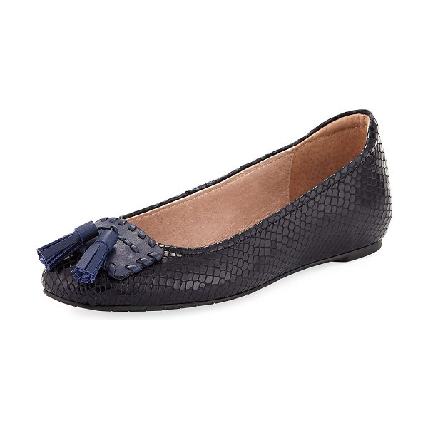 "Donald J Pliner Pippa Snake-Print Leather Skimmer in navy - Donald J Pliner skimmer in snake-print leather. 0.3""..."