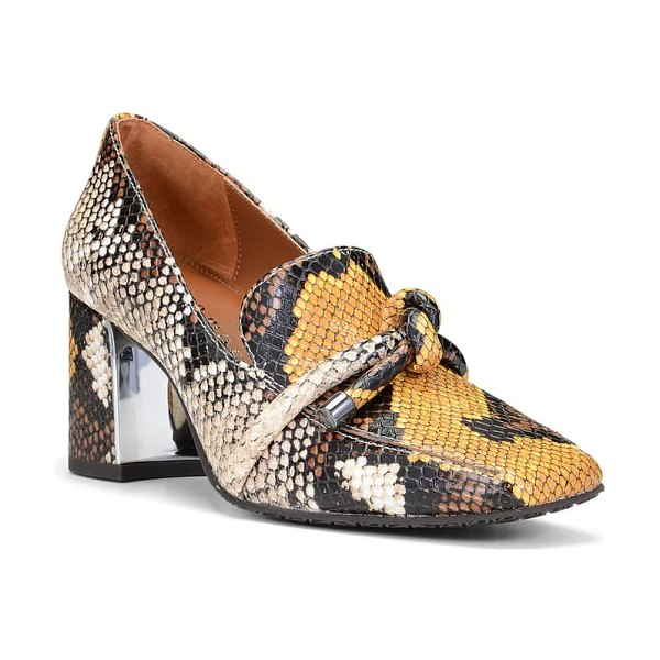 Donald Pliner camee snake embossed pump in yellow snake print leather