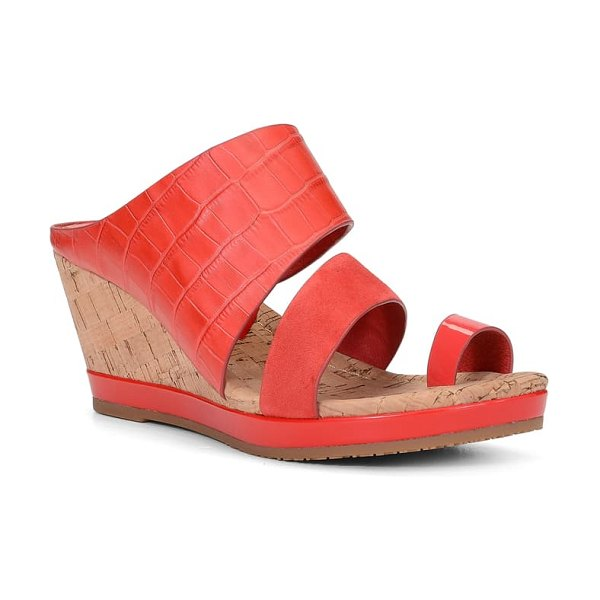 Donald Pliner montce wedge slide sandal in chili leather