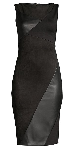 Donna Karan faux leather paneled sheath dress in black