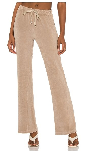 Donni. terry wide leg pant in stone