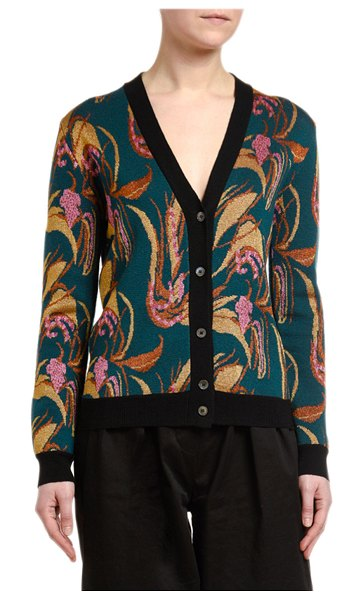 Double J Floral Intarsia Wool-Silk Cardigan in blue pattern