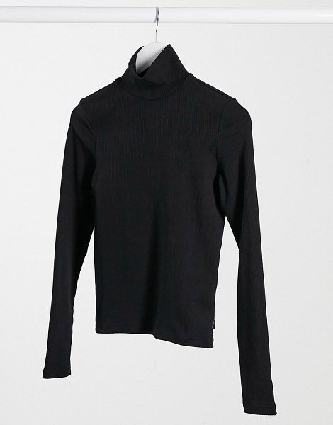 Dr Denim awa long sleeve high neck t-shirt in black in black