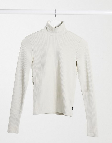 Dr Denim awa long sleeve high neck t-shirt in cream-beige in beige