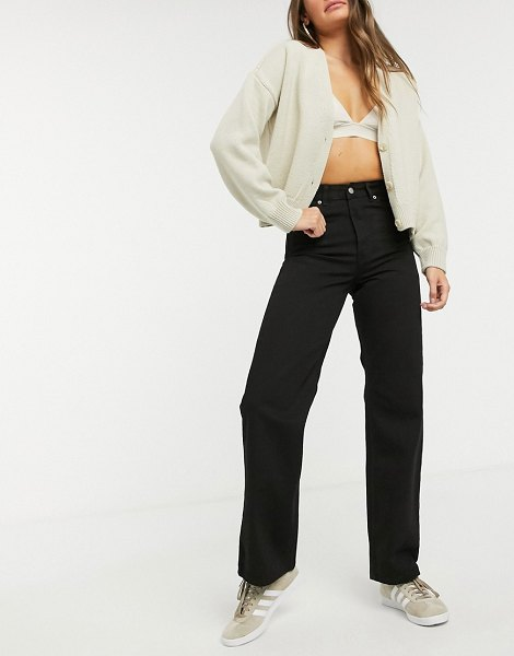 Dr Denim echo high waist wide leg jeans in black in black