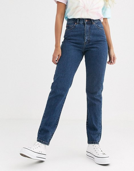 Dr Denim nora high rise mom jean in mid retro-blue in blue
