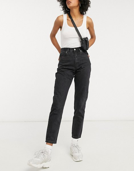 Dr Denim nora high rise mom jeans in black in black