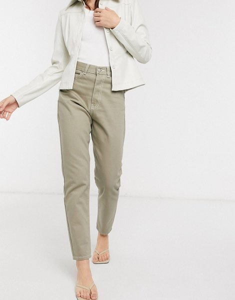 Dr Denim nora high rise mom jeans in stone wash-green in green
