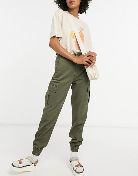 Dr Denim rugby cargo pants in green in green