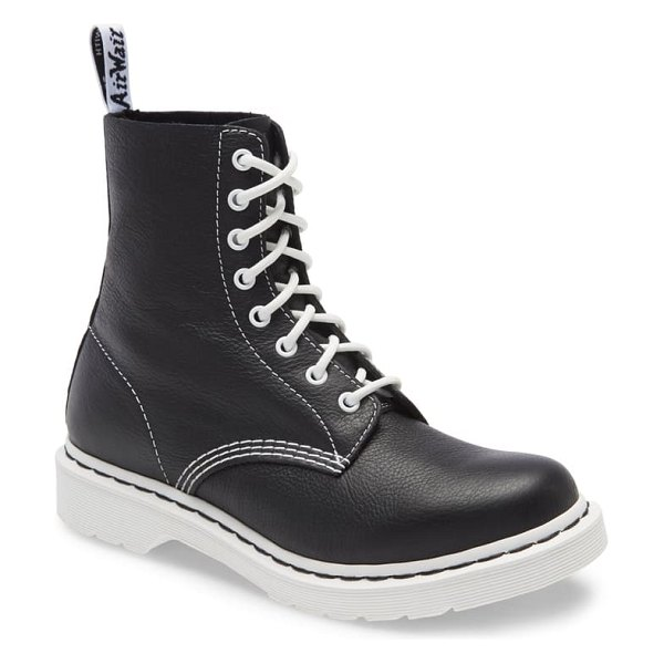 Dr. Martens 1460 pascal lace-up boot in black/ white virginia