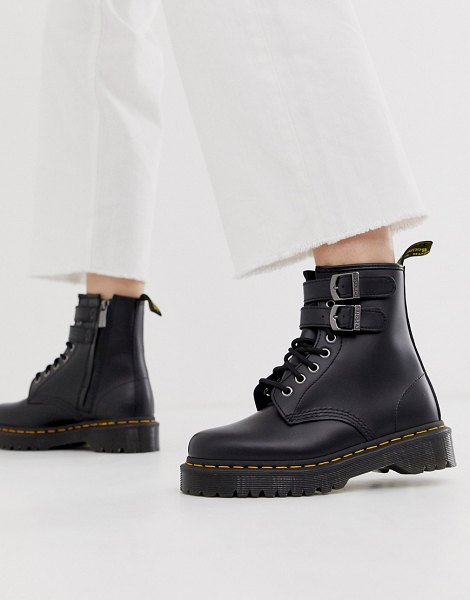 Dr Martens chunky buckle boots in black leather in blacksmooth
