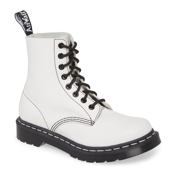 Dr. Martens 1460 pascal boot in white/ black virginia