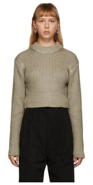 DRAE cropped crewneck sweater in beige