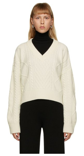 DRAE off-white wool cable knit sweater in ivory
