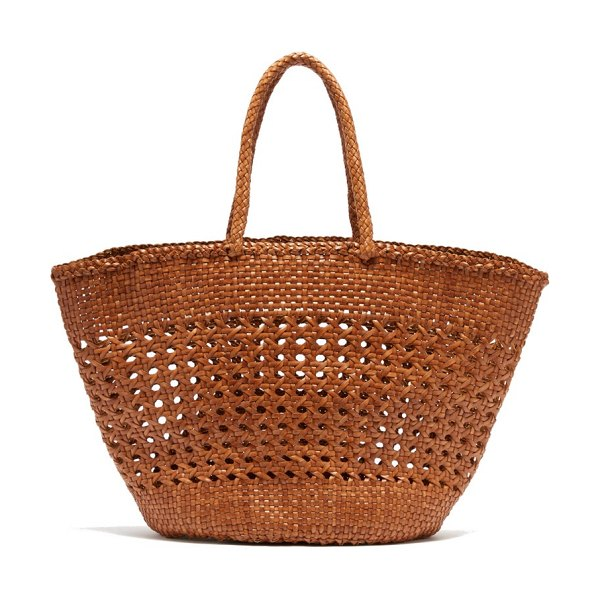 DRAGON DIFFUSION cannage market large woven-leather basket bag in tan