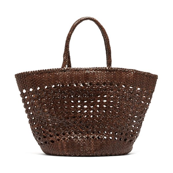 DRAGON DIFFUSION carnage extra large woven leather basket bag in dark brown