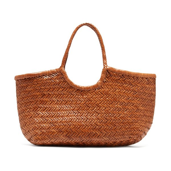 DRAGON DIFFUSION nantucket woven leather basket bag in tan