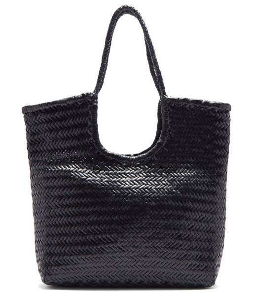DRAGON DIFFUSION triple jump woven-leather basket bag in black