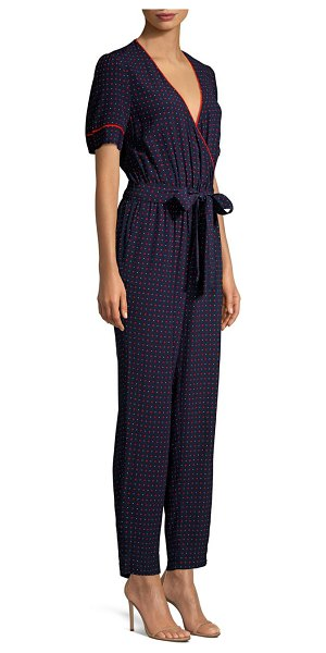 DRAPER JAMES Faux Wrap Printed Jumpsuit in navy