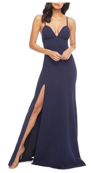 Dress the Population alejandra crepe evening gown in navy