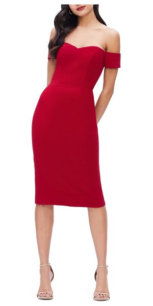 Dress the Population bailey off the shoulder body-con dress in garnet