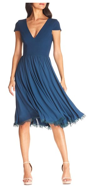 Dress the Population corey chiffon fit & flare dress in peacock blue