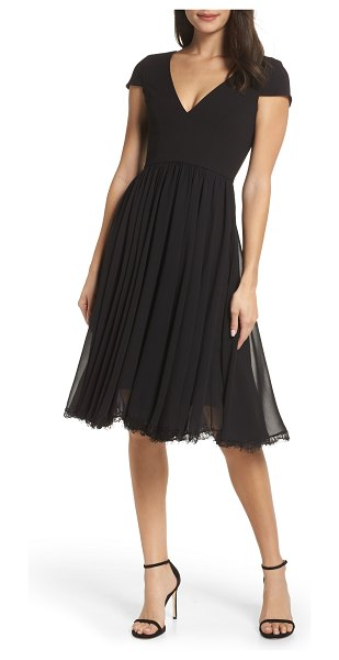 Dress the Population corey chiffon fit & flare cocktail dress in black