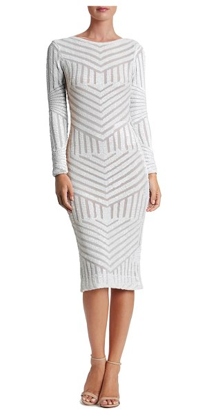 Dress the Population emery sequin stripe long sleeve cocktail dress in white