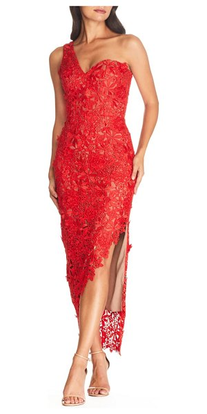 Dress the Population magnolia one shoulder lace bodycon gown in rouge