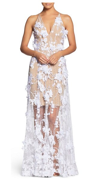 Dress the Population sidney deep v-neck 3d lace gown in white