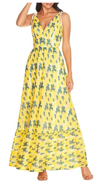 Dress the Population sunny embroidered floral tie shoulder gown in canary multi