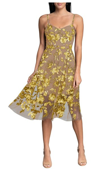 Dress the Population uma floral embroidered lace cocktail dress in canary multi