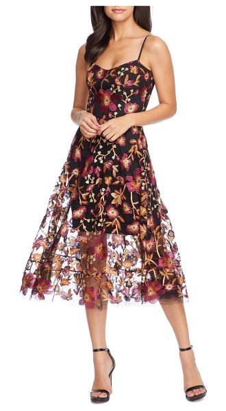Dress the Population uma floral embroidered lace dress in maroon-black multi
