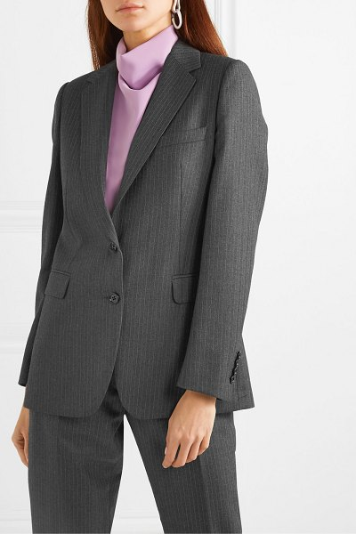 Dries Van Noten blest pinstriped wool blazer in dark gray