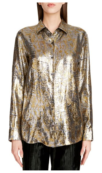 Dries Van Noten clavelly fil coupe lame shirt in silver 952
