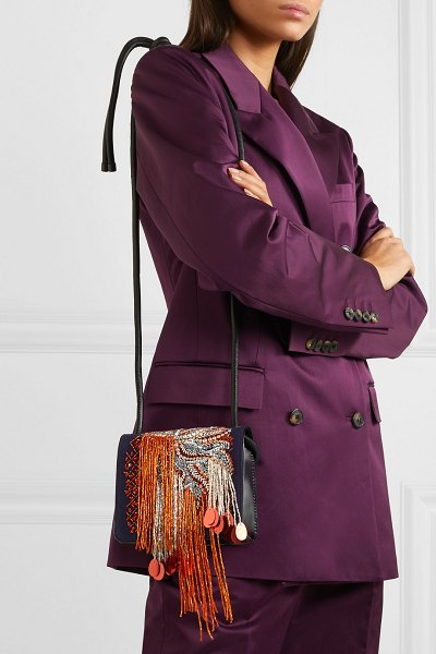 Dries Van Noten embellished canvas and patent-leather shoulder bag in navy