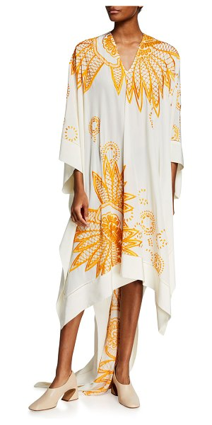 Dries Van Noten Embroidered Crepe De Chine Caftan Dress in off white