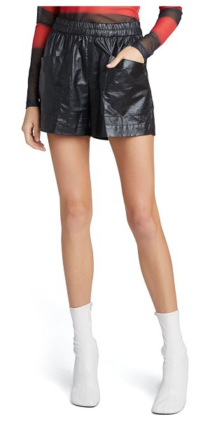 Dries Van Noten Faux-Leather Pull-On Shorts in black