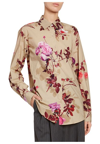 Dries Van Noten Floral Button-Front Long-Sleeve Cotton Top in sand