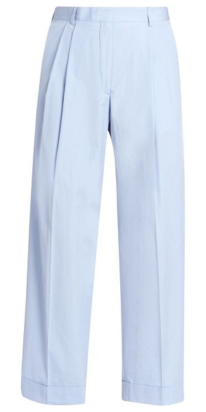 Dries Van Noten high-rise pleated cotton trousers in light blue